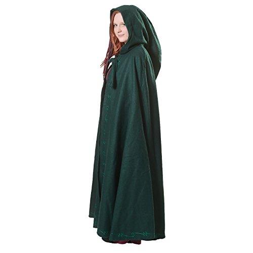 Mittelalter Umhang Damen mit Kapuze und Stickerei Wolle grün