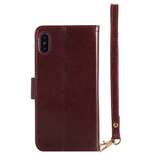 Coque iPhone X, Étui Housse en Cuir iPhone X, Portefeuille iPhone X, BONROY Coque iPhone X Cuir Case Motif Fille et Papillon Gaufrage Design Housse Leather Wallet Case Étui en PU Cuir Bumper Flip Cove brun