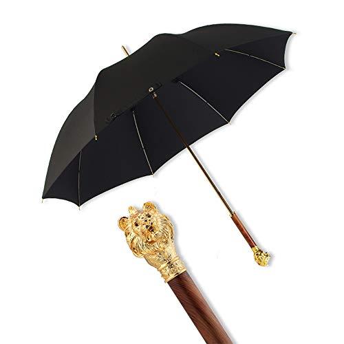ZY Golfschirm Wind und Regen, Regen und Regen Regenschirm mit langem Griff vergoldeter Löwenkopf Regenschirm Sonnenschutz UV-Regenschirme Retro British Business Straight Doppelschirm