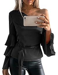 d23da33b62 Siswong Camiseta Blusa Manga Larga de Volantes Blusa Playa Hombros  Descubiertos Elegante Tops Mujer Fiesta Noche
