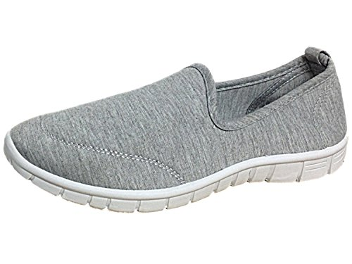 Donna Lycra Slip On Flessibile Walk Sport pompe, grigio (Grey), 40