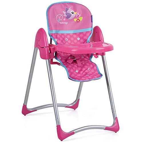 *Hauck Höhenverstellbarer Puppenhochstuhl Up'n Down DELUXE mit abnehmbaren Essbrett 3-Punkt Sitzgurt und zusammenklappbaren Gestell – Pink Birdie*
