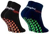 Rainbow Socks - Jungen Mädchen Neon Sneaker Sport Stoppersocken - 2 Paar - Schwarz Blau - Größen: EU 30-35