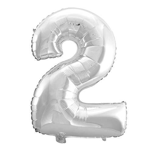 MC-Globo Gigante Número 2 De Foil Color Plata para Fiestas de Cumpleaños 65cm