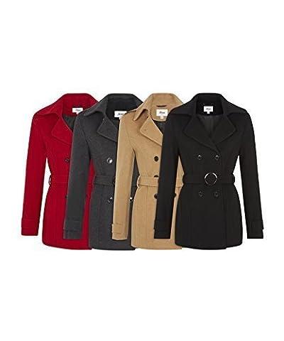 De La Creme - Women's Winter Wool & Cashmere Blend Jacket Ladies Short Double Breasted Belted Coat (UK 10/EU 36/US 8, Black )