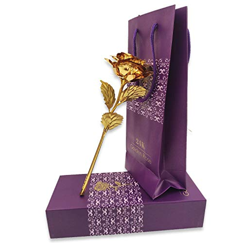 ASP Online Trader Golden Rose Flower para San Valentín 24K Gloden Plated Handcrafted Golden Rose 24K Gold Foil Artificial Rose Flower Papel de Regalo