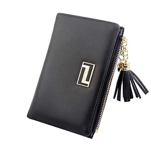 Leobtain Girls Women's Purse Wallet Tassels PU Leather Multi-Slots Short Money Bag Slim Card Holder Purse for Women and Ladies with Heart-Shaped Metal Tassels Pendant Gift Bifold Clutch
