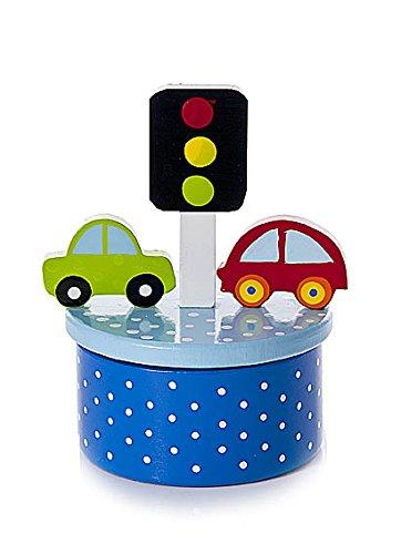 Blaue Auto Baby Spieluhr Spieldose Holz spielt den ABC Song für Jungen