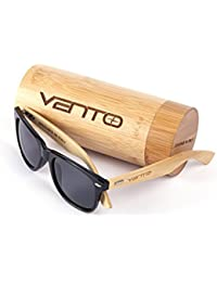 Vento Eyewear® modelo Chinook Black&Grey - Gafas de sol de madera de bambú, diseñadas en Italia con certificados CE y protección UV400, Marco negro lentes gris