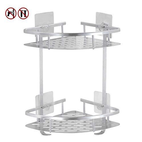 Laimew mensola angolare bagno senza foratura, mensola adesiva lucido alluminio antigraffio con ganci sospesi (2 livelli)