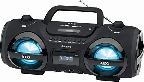 Stereoradio mit CD Player Tragbar Ghettoblaster Radio Bluetooth und USB Fernbedienung (Discolicht, AUX In, 2 Lautsprecher, LCD Display, Hintergrundbeleuchtung)