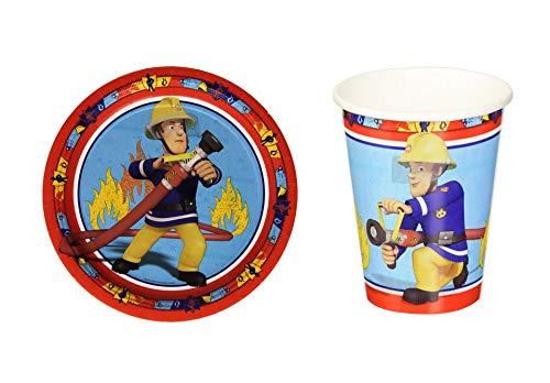 Unbekannt Feuerwehrmann Sam Party-Set, Pappbecher und Teller