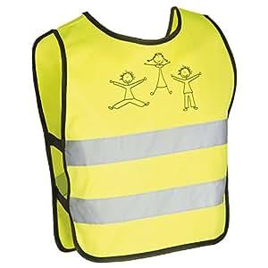 BABY-WALZ Le gilet de sécurité réfléchissant pour enfant accessoires vélo, taille XXS-XS, jaune
