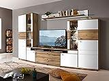 Froschkönig24 Terra Plus 80 Wohnwand Anbauwand Wohnzimmer 4 TLG Weiß/Eiche Altholz montiert