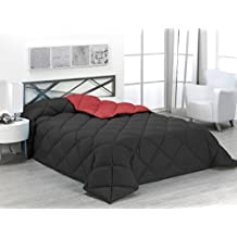Sabanalia - Edredón nórdico de 400 g , bicolor, cama de 150 cm, color rojo y negro