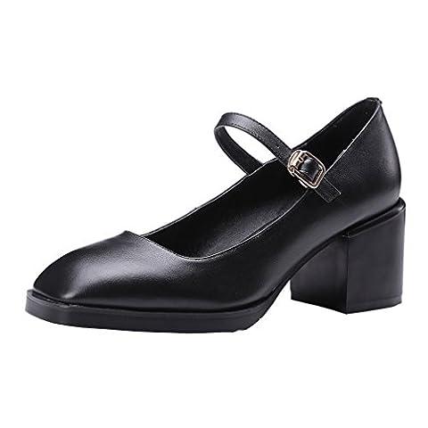 ENMAYER Femmes Noir Mary Jane Bretelles en Cuir Ankle Strap Heel Office Lady Pumps Court Shoes EU 34