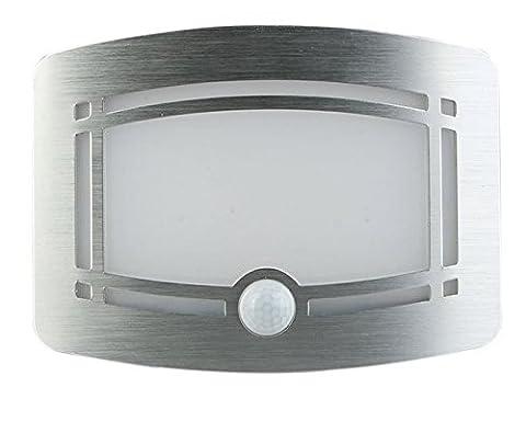 Lampe murale en aluminium à LED Applique sans fil avec détecteur de mouvement veilleuse deux niveaux de luminosités alimentée par piles pour lumière de Couloir/ Hall/ Escalier/ Salle/ Cuisine/ Armoire/ Garage