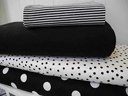 rsey no114 Stoffpaket 3 Stück 50x70cm Schwarz Weiß Polka Dots Streifen Baumwolljersey Kinder Kleidung Stoffe ()