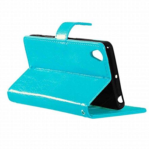 Custodia Sony Xperia X Cover Case, Ougger Portafoglio PU Pelle Magnetico Stand Morbido Silicone Flip Bumper Protettivo Gomma Shell Borsa Custodie con Slot per Schede Colore Verde Blu