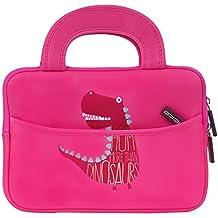 MoKo Funda de Fieltro Universal - Portátil Sleeve Bag 7-8 Pulgadas Bolsa de Neopreno Cover Case para iPad Mini 4 3 2 1 / Samsung Galaxy Tab S2 8.0 / Dragon Touch Y88X Plus Tableta, Dinosaurio Rosa