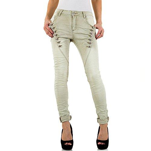 iTaL-dESiGn - Jeans - Boyfriend - Femme Kaki