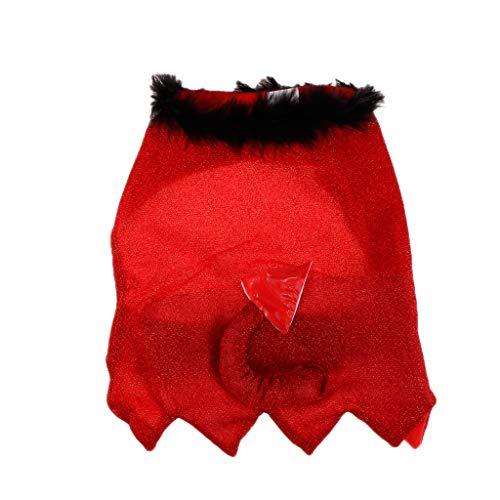 B Blesiya Haustier Teufel Umhang Halloween Karneval Fasching Kostüm mit Schwanz für Katze und Hund - L