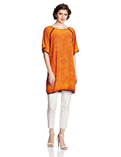 Tarun Tahiliani Designer Women's Straight Kurta (MF-TU-1_Orange_Medium)