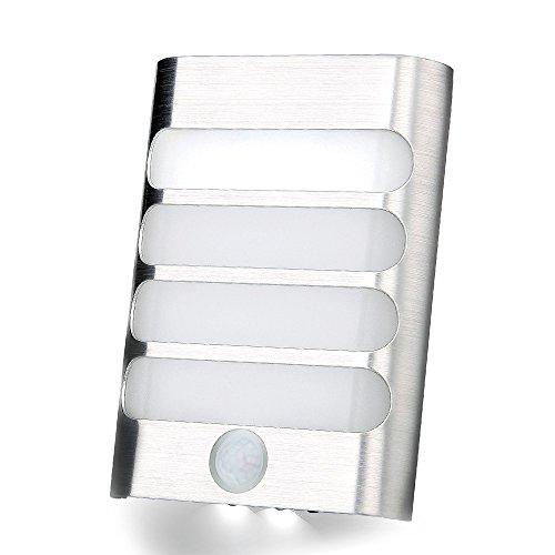Batteria Luce con sensore di movimento, Stick-on 9LED Wireless Motion Activated Stairway modalità da parete con luce istantanea ON/OFF luce notturna per Corridoio, Percorso, corridoio, corridoio, giardino, parete, Drive Way armadio armadi, garage, luce notturna