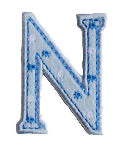 N maiuscolo 5cm azul Muchacha Motivos Mixto Mercería afición para re