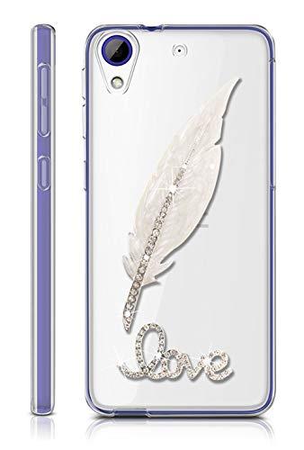 Sunrive Für HTC Desire 650/628 / 626 / 626G Hülle Silikon, Glitzer Diamant Strass Transparent Handyhülle Schutzhülle 3D Etui handycase Case (Feder) MEHRWEG