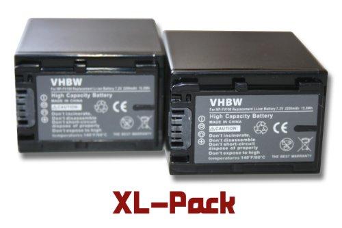 Set x2 baterías vhbw 2200mAh para videocámara Sony DCR-DVD850E, HDR-CX520E, HDR-CX110E, DCR-SR37E, HDR-CX520VE, HDR-CX115E, DCR-SR38E