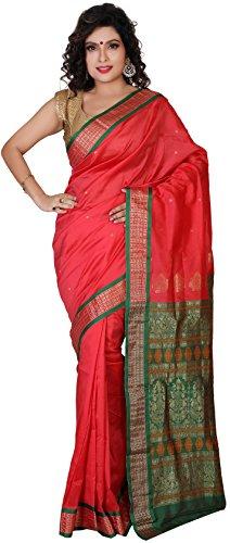 Aruna Fashions Self Design Paithani Gatti 3D Art Silk Saree( Tomato color saree with Green color blouse piece)  available at amazon for Rs.999