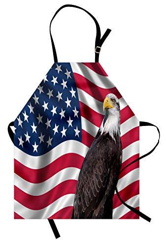 Abakuhaus Adler Kochschürze, Patriotische Symbole des Landes mit Einer amerikanischen Flagge mit Einem Weißkopfseeadler-Nationalismus, Maschienenwaschbar Wasserdicht kein Verblassen, Mehrfarbig