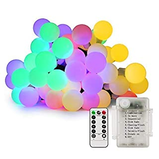 Globe String Lights, Diswoe 50 LED Battery Powered Fairy Lights with Timer Function, 8 Modes, Waterproof String Lights for Wedding, Home, Garden, Valentine, Party, Indoor & Outdoor (Multicolor)