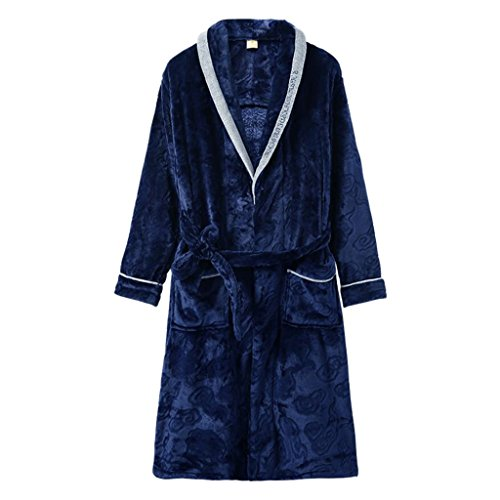 Bathrobes ZLR New Winter Thickened Coral Dressing Gowns Men's Pajamas Solid Color Home