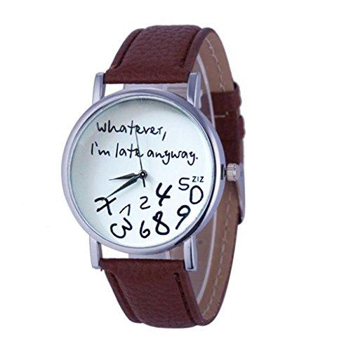 Fashion Damen Pu-leder (Ularma Damen Quarz Uhr Hot PU Leder Armbanduhr mit Buchstaben