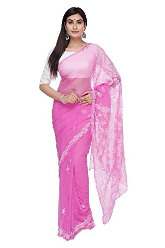 BDS Chikan Hand Embroidered Lucknow Chikankari Dark Pink Georgette Saree with Blouse...