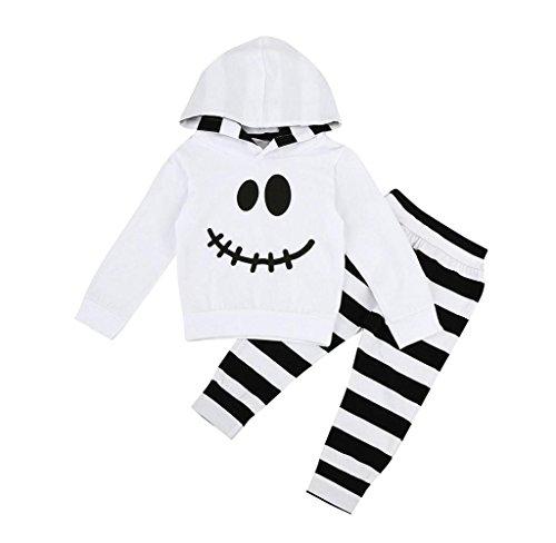 Säugling Baby Junge Mädchen Wenig Teufel Haube Bluse Streifen Hose Halloween Outfits Set_Hirolan (90cm, Weiß)