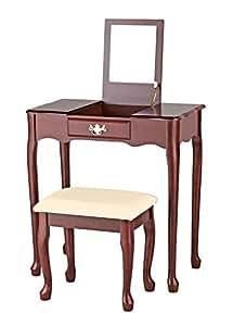 bhp b421466 schminktisch mit spiegel und hocker holz 70 x 75 cm braun k che. Black Bedroom Furniture Sets. Home Design Ideas