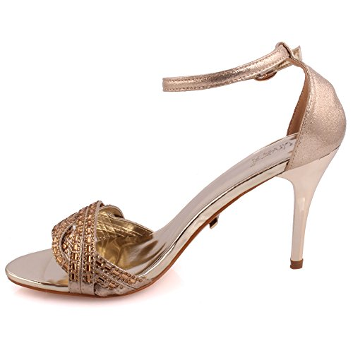 Unze Femmes 'Vivacity' Strappy mi-bas haut talon Party Prom Get Together Carnaval Bureau Evening Sandals Talons Chaussures Uk Taille 3-8 Or
