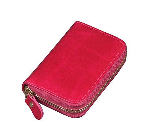 Genda 2Archer Unisex Piccolo in Pelle con Cerniera Attorno Carte Della Borsa Della Borsa del Portafoglio (10.5cm*2cm*7cm) (Rosso) Rosso