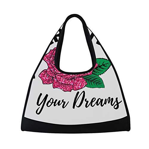NISENASU Sporttasche,Mädchen Glitter Print T Shirt Design,Neue Sport Reisetaschen Tennisschläger Rucksack Badminton Kurze Reisetaschen tragbare Umhängetasche (20×6.7×18.5 inch) -