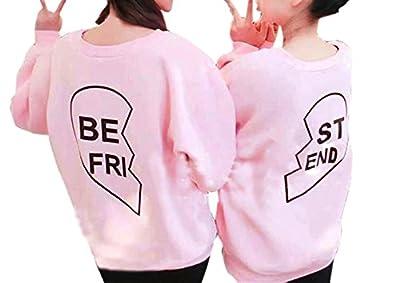 ? Loveso ?-Damen Outwear Sisters Apparel Langarm-Shirt BESTER FREUND Brief drucken Sweater mit Kapuze Spitzenbluse