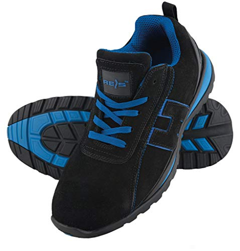 Scarpe da lavoro scarpe antinfortunistiche Chile, taglia 36 – 48 Scarpe punta in acciaio, nero (nero/blu), 42