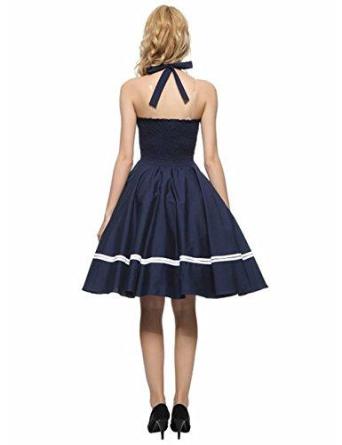 VKStar® Damen Retro 50er Neckholder Swing Rockabilly Abend-Partykleid Taille elastische Cocktailkleid Marine