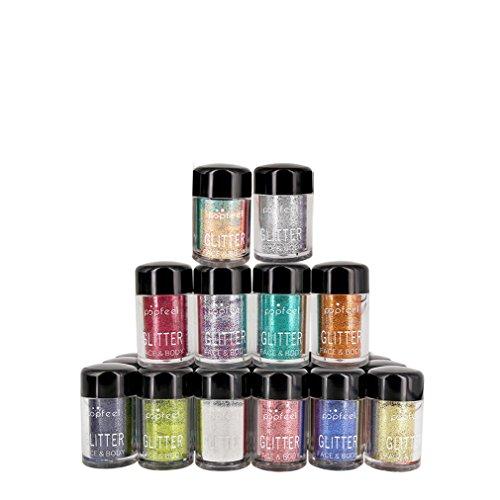 CFtrum 12 Flaschen Glitter Powder Langanhaltende Lidschatten Glitzer Puder Hoch Pigmente, 1er Pack -