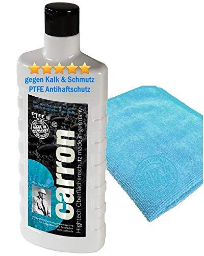 carron ® Glas-Versiegelung PTFE-2 für Duschwand aus Acryl-Glas gegen Kalk & Schmutz Set mit Poliertuch reinigen, auch für Dusche, Duschkabine, Badewanne