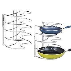 Regal Kochgeschirrhalter Schrank Aufbewahrung mit 8 F/ächern 3 in 1 Pfannen-Organizer Edelstahl abnehmbarer Pfannen-Halter