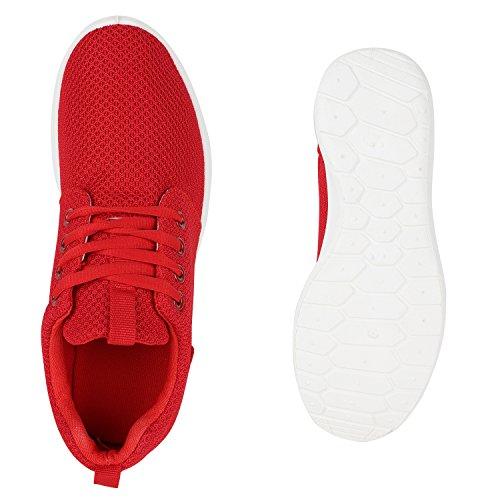 Damen Sportschuhe Übergrößen Trendfarben Runners Sneakers Laufschuhe Fitness Prints Flandell Rot Red