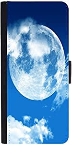 Snoogg Blue Sky Moon Graphic Snap On Hard Back Leather + Pc Flip Cover Samsun...